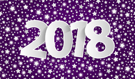 Violet Happy New Year 2018 greeting card concept with silver paper cuted white numbers. Vector illustration