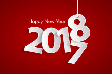 Red Happy New Year 2018 concept with paper cuted white numbers on ropes.