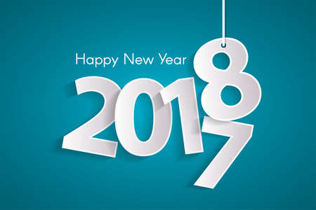 Turquoise Happy New Year 2018 concept with paper cuted white numbers on ropes. Illustration