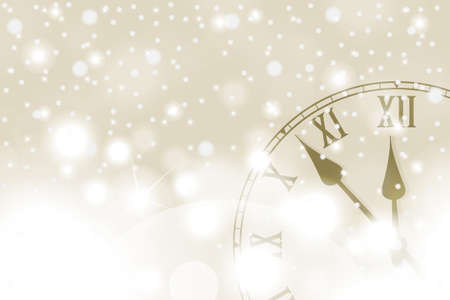 Golden New Year and Christmas concept with vintage clock in white style. Vector illustration