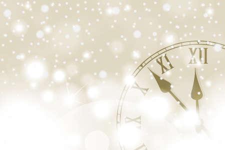 Złota koncepcja nowego roku i bożego narodzenia z rocznika zegarem w białym stylu. Ilustracji wektorowych