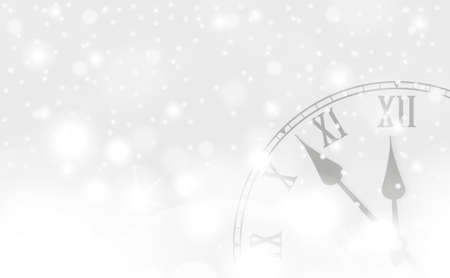 Silver New Year and Christmas concept with vintage clock in white style. Vector illustration