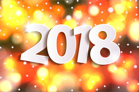 2018 greeting card concept with paper cuted white numbers on sparkles shiny background