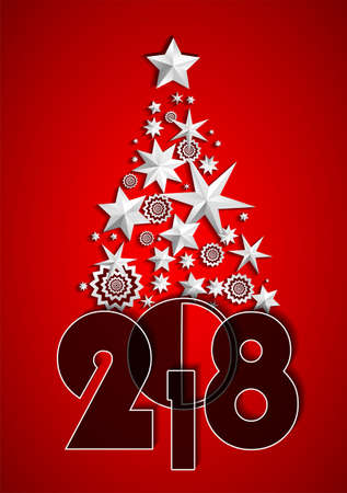 Christmas Tree made of stars and snowflakes on red background. New Year 2018 concept
