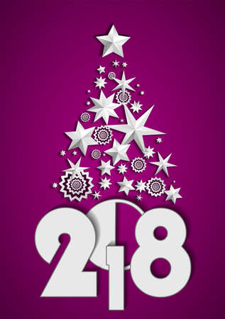 Christmas Tree made of stars and snowflakes on purple background. New Year 2018 concept