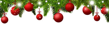 new year banner with red christmas balls stock photo 92323574
