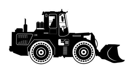 Detailed excavator snow-plow tractor. Stock Photo