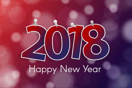 Happy New Year 2018 greeting card concept with paper cuted white numbers on pins Stock Photo