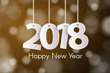Happy New Year 2018 greeting card concept with paper cuted white numbers on ropes