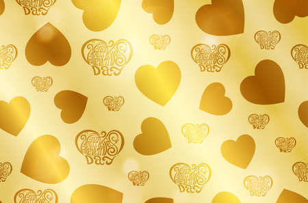 Realistic Vanentines day gold shiny texture with sparkles. Shiny metal foil gradient. Vector illustration
