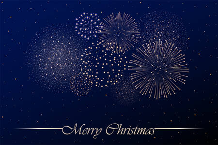 Firework show on blue night sky background. Christmas concept. Congratulations background. Vector illustration