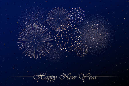 Firework show on blue night sky background. New year concept. Congratulations background. Vector illustration Vettoriali