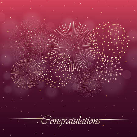 Firework show on red night sky background. Independence day concept. Congratulations background. Vector illustration