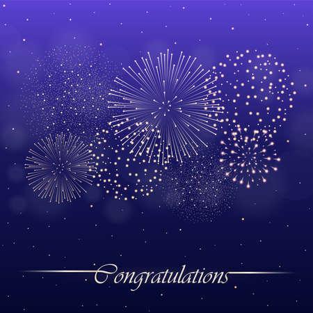 Firework show on violet night sky background. Independence day concept. Congratulations background. Vector illustration Illustration
