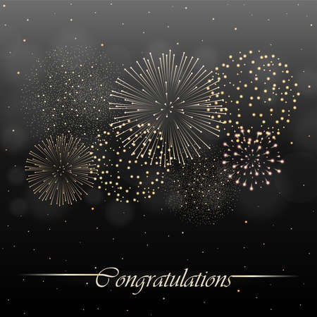 Firework show on black night sky background. Independence day concept. Congratulations background. Vector illustration