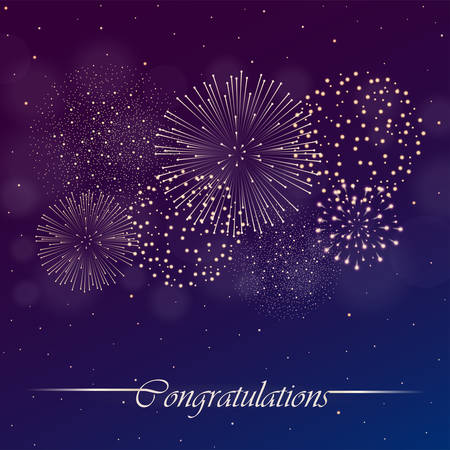 Firework show on blue and violet night sky background. Independence day concept. Congratulations background. Vector illustration