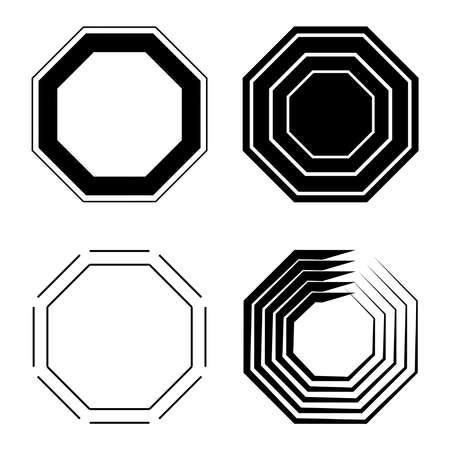 Octagon Icon Pack. Geometrie achteckige achteckige Polygon-Achtecklinie.