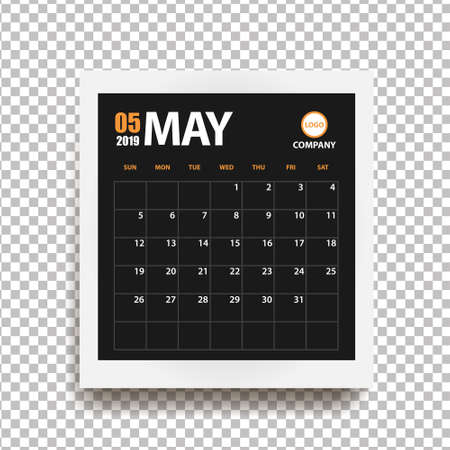 May 2019 calendar in realistic photo frame with shadow isolated on transparent background. Event planner. All size. Vector illustration