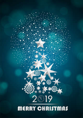 Christmas and New Year 2019 abstract with Christmas Tree made of stars and snowflakes with firework on cyan ambient blurred background. Vector illustration Ilustrace