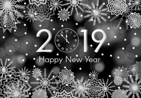 Black and white New Year 2019 concept. Falling snow background with flares and sparkles. Snowflakes abstract. Winter thunder. Vector illustration