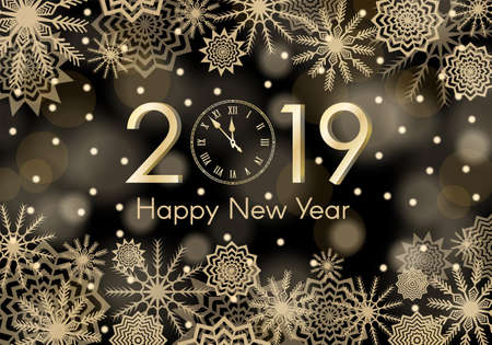 Brozne New Year 2019 concept. Falling snow black background with flares and sparkles. Snowflakes abstract. Winter thunder. Vector illustration