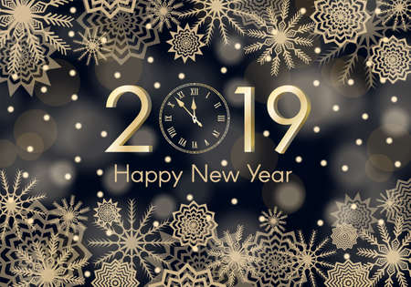 Golden New Year 2019 concept. Falling snow blue background with flares and sparkles. Snowflakes abstract. Winter thunder. Vector illustration