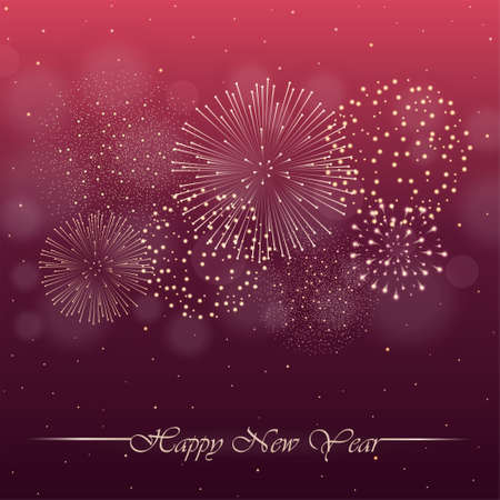 Firework show on pink night sky background with glow and sparkles. New year concept. Invitation, card, party background. Vector illustration Stock Illustratie