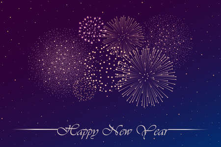 Firework show on blue and violet night sky background. New year concept. Congratulations or invitation card background. Vector illustration Ilustração