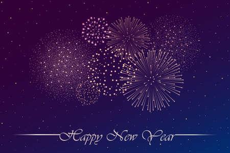 Vuurwerkshow op blauwe en violette nachtelijke hemelachtergrond. Nieuwjaarsconcept. Gefeliciteerd of uitnodigingskaart achtergrond. vector illustratie
