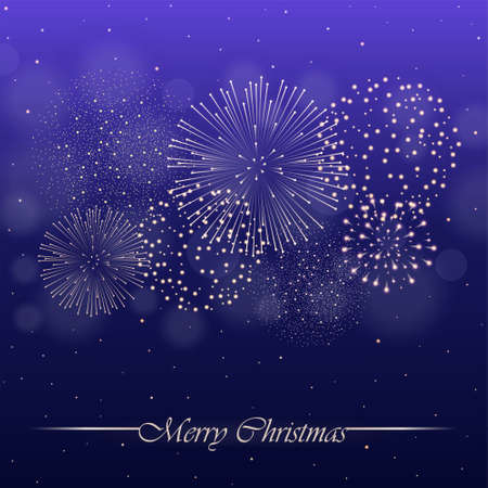 Firework show on violet night sky background with glow and sparkles. Christmas concept. Invitation, card, party background. Vector illustration