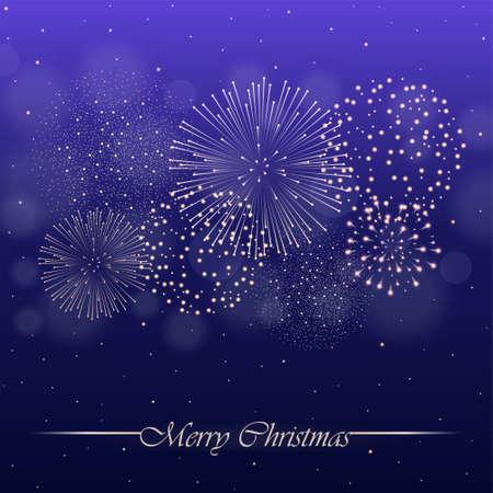 Vuurwerkshow op violette nachtelijke hemelachtergrond met gloed en fonkelingen. Kerstconcept. Uitnodiging, kaart, partij achtergrond. vector illustratie