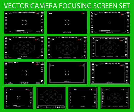 Camera focusing screen with settings 13 in 1 pack - digital, mirorless, DSLR, cameraphone isolated. Viewfinders camera recording. Vector illustration Illustration