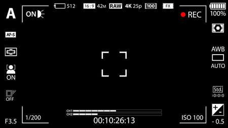 Modern digital video camera focusing screen with settings template. Black viewfinder mirrorless, DSLR or cameraphone camera recording. Vector illustration Illustration