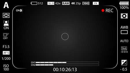 Black modern digital camera viewfinder template with vignetting effect. Black viewfinder mirrorless, DSLR or cameraphone camera recording. Vector illustration