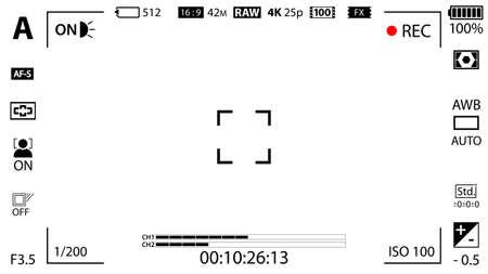 Schermo di messa a fuoco della fotocamera digitale moderna bianca con modello di impostazioni. Mirino mirrorless, DSLR o registrazione della fotocamera con fotocamera. Illustrazione vettoriale Vettoriali
