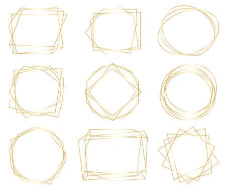 Vintage gold geometrische Rahmenpaket. Dekorative Luxusliniengrenzen für Einladung, Karte, Verkauf, Foto usw. Vektorillustration