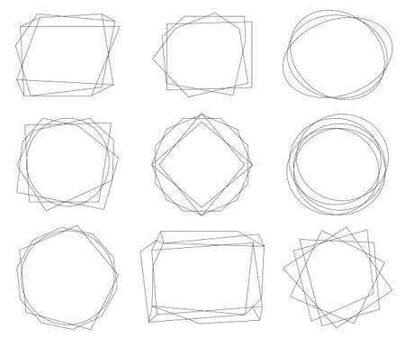 Vintage black geometric frames pack. Decorative luxury line borders for invitation, card, sale, photo etc. Vector illustration Vektorgrafik