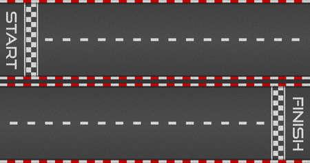 Racing asphalt road. Start and finish concept. Vector illustration 向量圖像