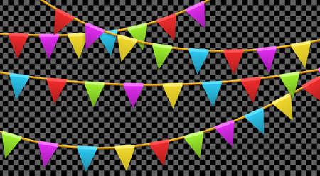 Banderas de guirnaldas de colores aisladas sobre fondo transparente. Concepto de carnaval, cumpleaños, celebración, fiesta, año nuevo o festival. Ilustración vectorial
