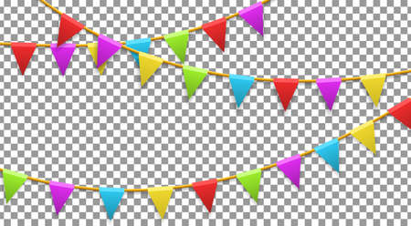 Colored garland flags isolated on transparent background. Carnival, birthday, celebration, party, new year or festival concept. Vector illustration Illustration