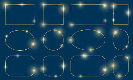 Gold shiny glowing frames set with shadows isolated on blue background. Pack of luxury realistic square, round, oval borders. Vector illustration