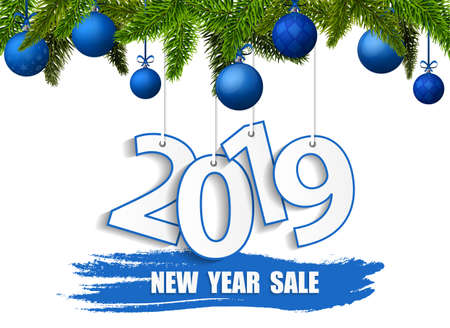 New Year Sale 2019 banner with blue balls and green Christmas tree. Vector illustration