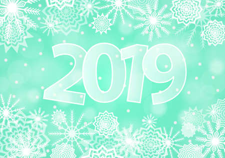 Cyan New Year 2019 concept. Falling snow background with flares and sparkles.  Snowflakes abstract. Winter thunder. Vector illustration