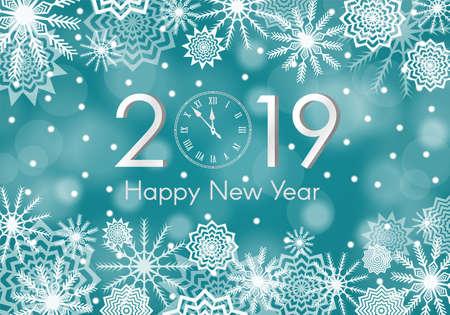Concepto turquesa año nuevo 2019. Fondo de nieve que cae con destellos y destellos. Resumen de copo de nieve. Trueno de invierno. Ilustración vectorial