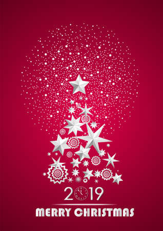 Christmas and New Year 2019 abstract with Christmas Tree made of stars and snowflakes with firework on dark purple ambient background. Vector illustration