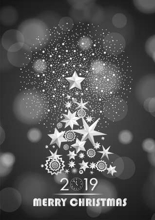 Christmas and New Year 2019 abstract with Christmas Tree made of stars and snowflakes with firework on dark grey ambient blurred background. Vector illustration