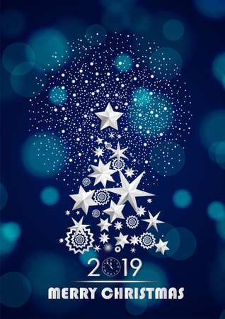 Christmas and New Year 2019 abstract with Christmas Tree made of stars and snowflakes with firework on dark blue ambient blurred background. Vector illustration