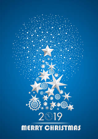 Christmas and New Year 2019 abstract with Christmas Tree made of stars and snowflakes with firework on dark blue ambient background. Vector illustration