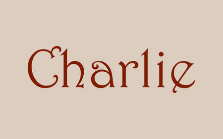 Charlie male name. Vintage hystorical typeface art design. Lineage concept. Old style sign. Vector illustration