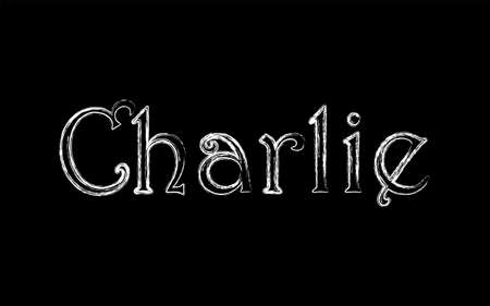 Charlie male name. Grunge style. Vintage hystorical typeface art design. Lineage concept. Old style sign. Vector illustration